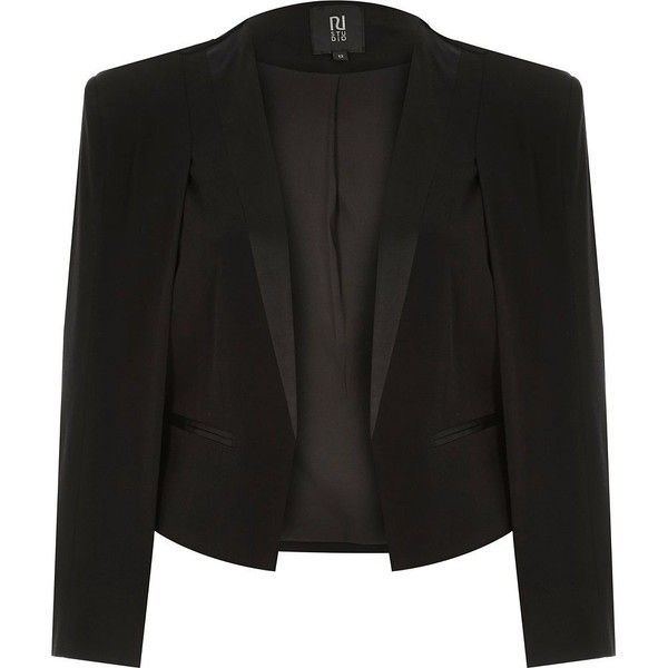 ~ Living a Beautiful Life ~ River Island Black RI Studio cropped tuxedo cape jacket (6555 TWD) ❤ liked on Polyvore featuring outerwear, jackets, black, blazers, coats / jackets, women, cape coat, black tuxedo, black cape coat and black cape
