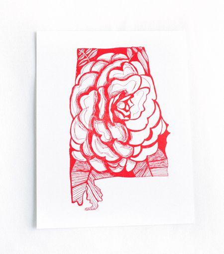 Alabama state flower - Camellia letterpress