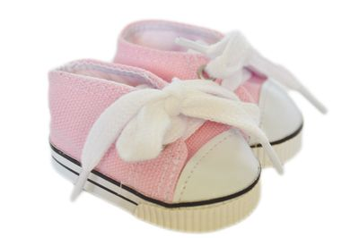 These canvas sneakers look so real.  They are suitable for dolls with a foot measurement up to 49mm long and 27mm wide such as Little Baby Born, Disney Toddler, Wellie Wishers and Corolle Les Cheries dolls.  These canvas sneakers are too big on the Gotz Just Like Me dolls.
