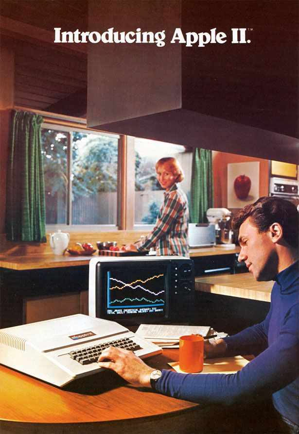 Apple Ad, Circa 1970 Love how the wife is happily smiling in the kitchen.  Oh honey, I'll never understand that computer stuff!  Here, let me fix you a nice meal while you type away, doing what ever you're doing!
