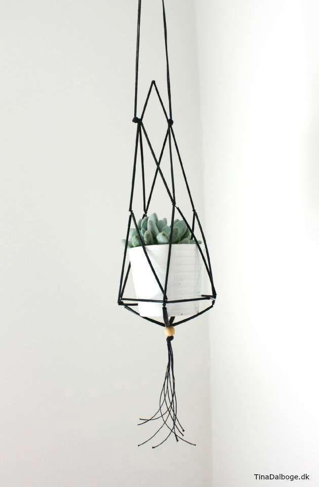 Planteophæng / DIY himmeli / Ampel. Lav den af snor og konstruktionsrør som kan købes i kreahobshop