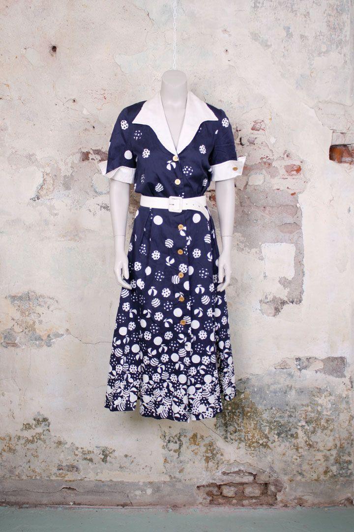 Vintage Louis Feraud jurk met print en witte kraag - Froufrou's