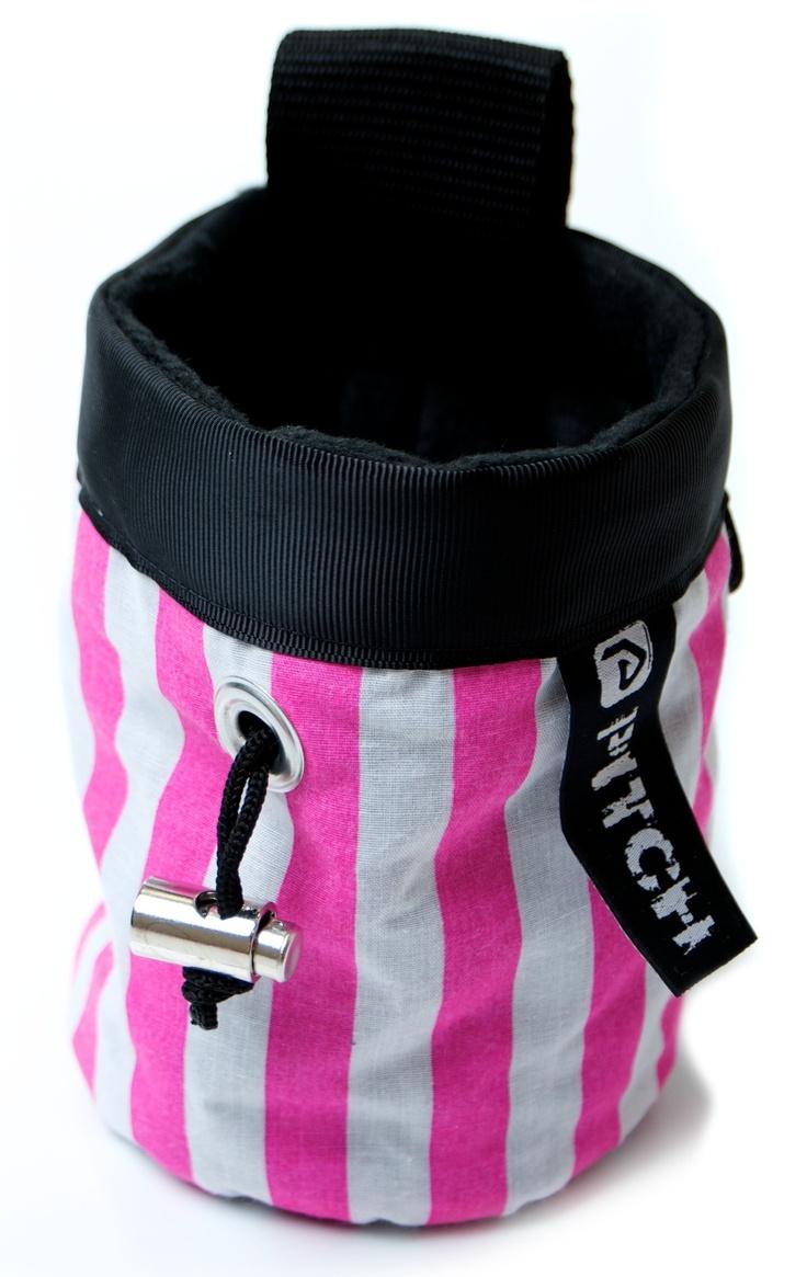 Strawberry humbug chalk bag (pitchclimbing.com)