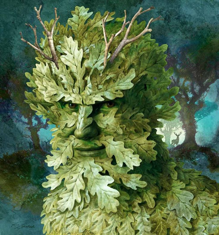 "Green Man:  A symbol of rebirth, or ""renaissance,"" representing the cycle of growth each spring; a Green man is represented as a man with foliage making up his face and sometimes body."