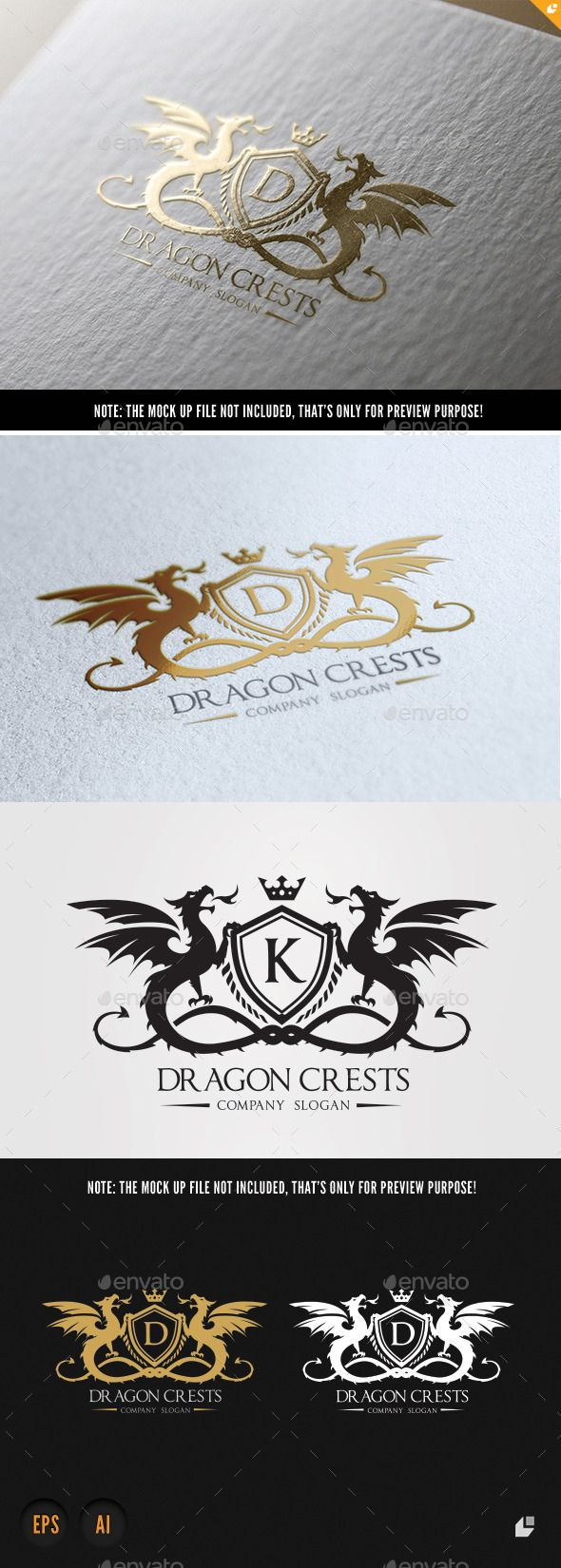 Dragon Crests Logo Template #design Download: http://graphicriver.net/item/dragon-crests/10223657?ref=ksioks