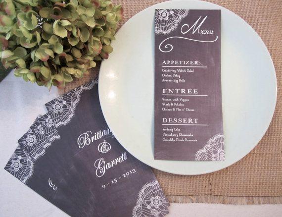 Elegant Lace Wedding Menu Card, Chalkboard style, Digital PRINTABLE File.