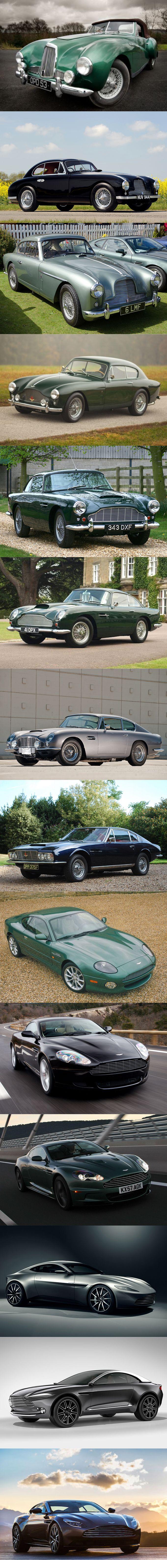 Aston Martin DB / 1948 DB1 / 1950 DB2 / 1953 DB2/4 / 1957 DB Mark III / 1958 DB4 / 1963 DB5 / 1965 DB6 / 1967 DBS / 1994 DB7 / 2004 DB9 / 2007 DBS / 2014 DB10 concept / 2015 DBX concept / 2016 DB11 / UK / green blue black silver