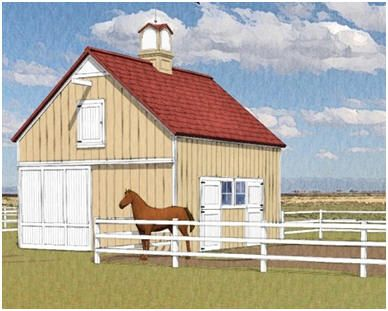 The Chestnut Barn is a small, efficient pole barn with two stalls, a front-to-back alley and a hay loft. Plans, at BackroadHome.net, include options to expand it with one or two more stalls, grooming shelters and a garage. Just click through to learn more.