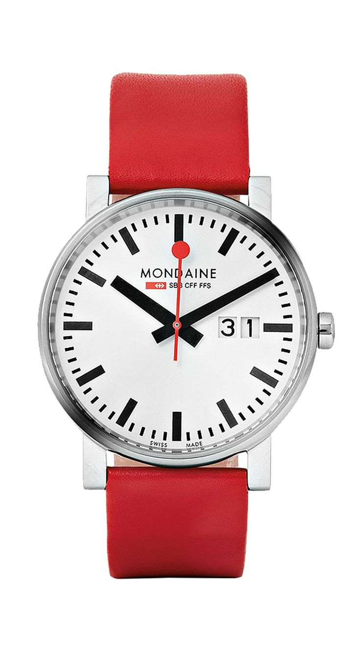 Editor's pick: based on Swiss railway clocks, this watch is the right way to do minimalism. Red strap, £165, by Mondaine, from mrporter