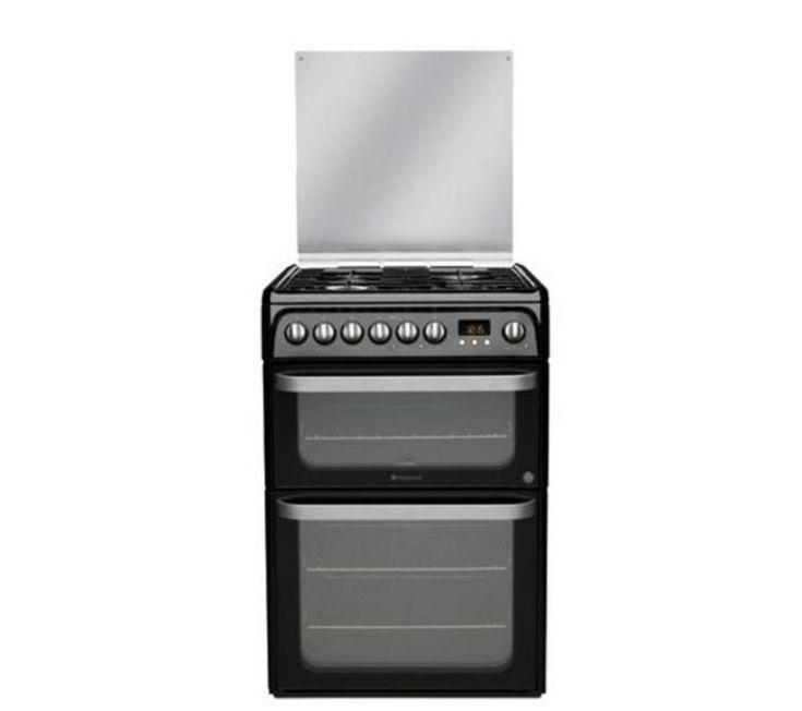 HOTPOINT HUD61K Dual Fuel Cooker - Black