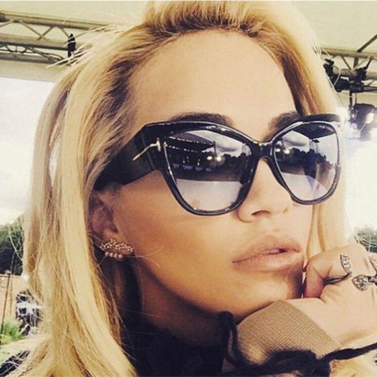 New Tom type Fashion Designer Cat Eye Women Sunglasses Female Gradient Points Sun Glasses Big Style