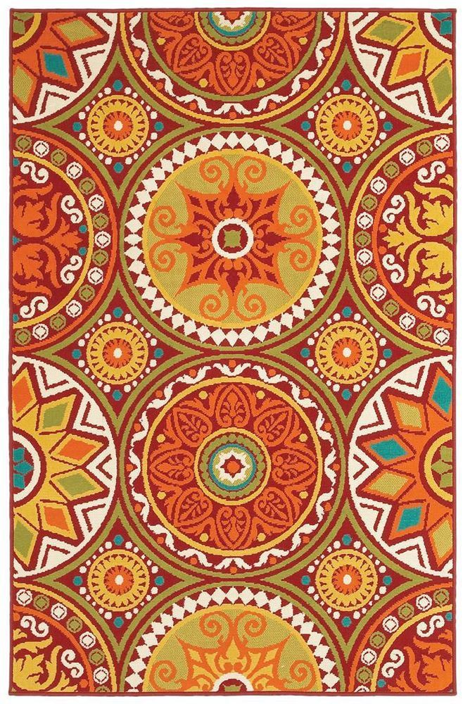 Modern Pop Orange Red Green Blue Medallions Indoor Outdoor