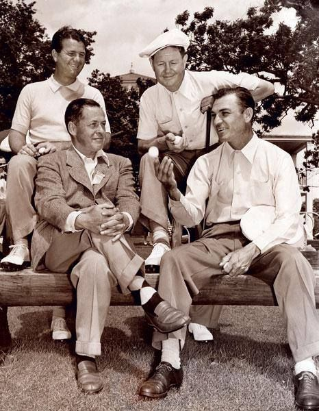 Ben Hogan sitting with Bobby Jones, Jimmy Demaret and Byron Nelson at the 1946 #Masters. -Golf Magazine