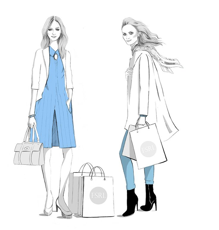 Shopping fashion illustration by illustrator Kelly Thompson for Four Seasons recruitment London www.kellythompsoncreative.com