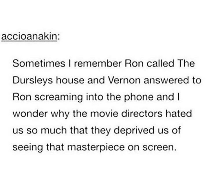 Ron screaming through the phone to the Dursleys