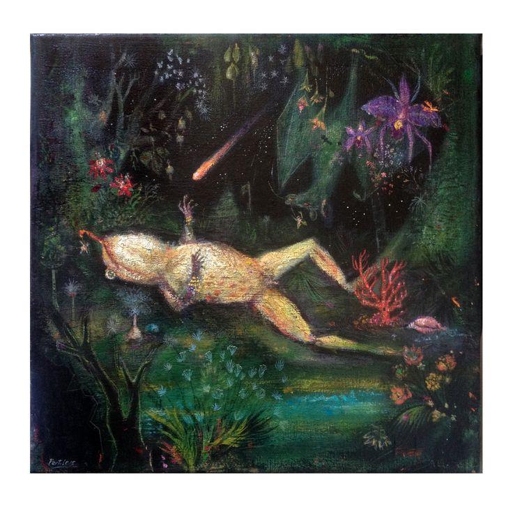 El despertar de Ambrosius, #frog, #dark, #night, #orchid, #flowers, #greenriver, #cosmic