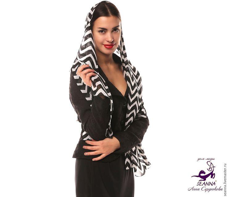 """Купить Платок, шарф с авторским принтом шифоновый """"Черно-белые зигзаги"""" - платок, женский платок"""