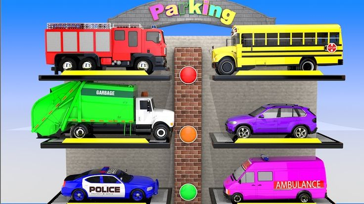 Colors for Children to Learn with Street Vehicles Lift Multi-Parking for...