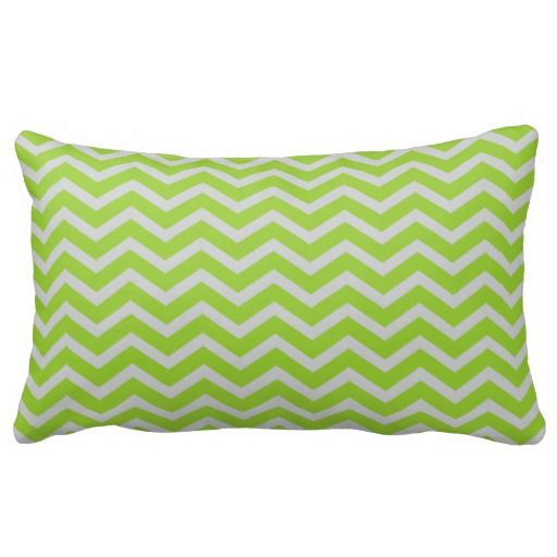 Bright Green and Grey Chevron Patterned Pillow