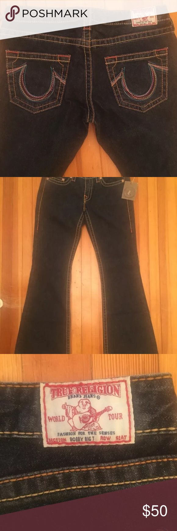 Authentic True religion women's jeans size 31 Authentic True Religion women's Rainbow stitched Bobby Big T jeans. Size 31  Black Boot cut slightly faded effect, no stretch True Religion Jeans Boot Cut