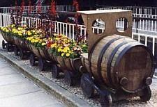 Wijnvaten hergebruikt als bloembakken, modeltrein.