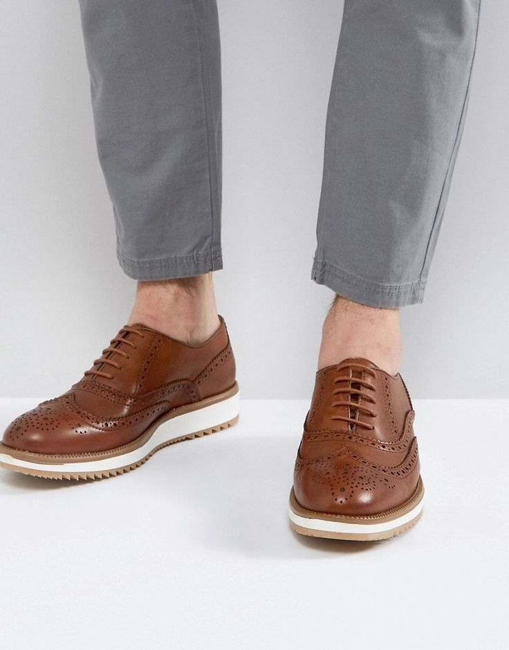 ASOS Brogue Shoes In Tan Leather With Wedge Sole - Tan