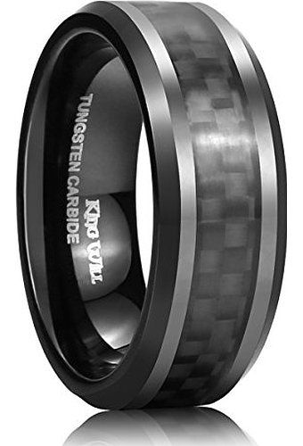 King Will Mens Tungsten Carbide Ring 8mm Black Carbon Fiber Inlay Polish Edges Comfort Fit