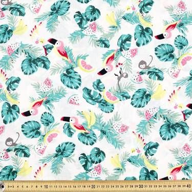 Mix N Match Tropical Birds Fabric Pink & Multicoloured 112 cm