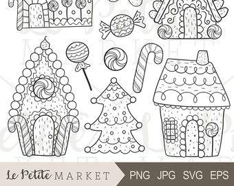 Handgezeichnete Lebkuchen ClipArt, Lebkuchen Haus ClipArt, süße Lebkuchen Mann Clipart, Lebkuchen Häuser digitale Briefmarken, Ferienhäuser