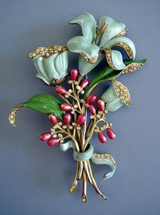 ENAMELED green-aqua and red flowers and berries brooch