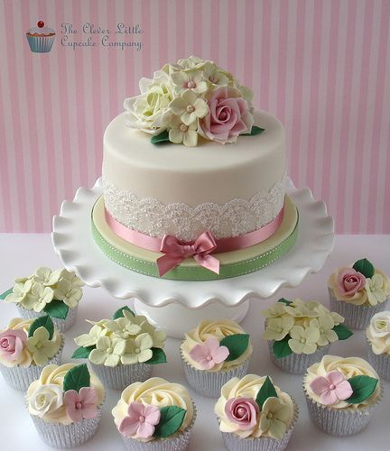 Rose and Hydrangea 90th Birthday Cake