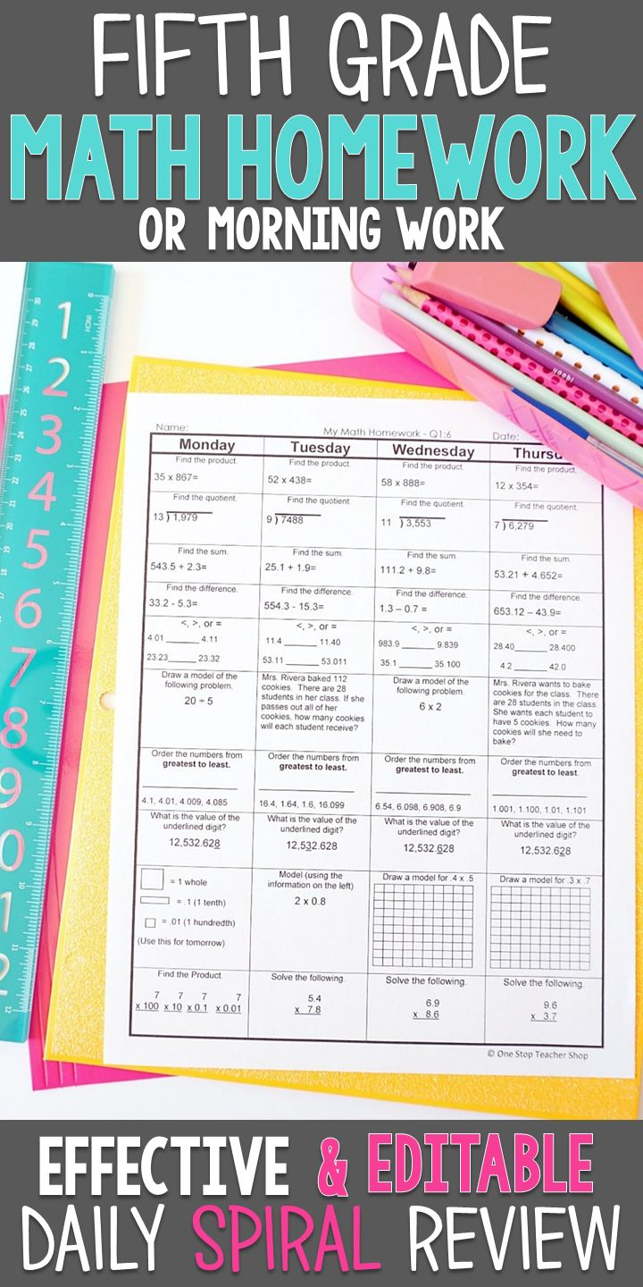 Fifth Grade math homework or morning work that provides a daily review of ALL 5th grade math standards. This 5th Grade spiral math review resource is fully EDITABLE and comes with answer keys and a pacing guide.