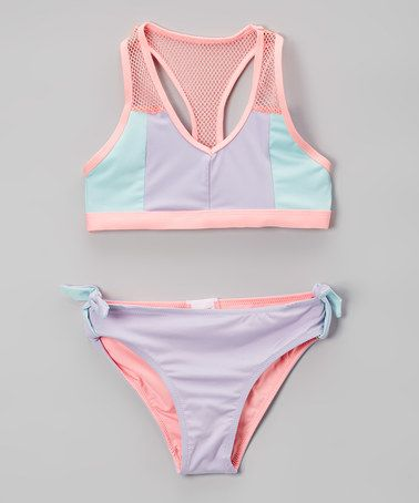 Love this Pastel Retro Summer Color Block Mesh-Accent Bikini - Girls on #zulily! #zulilyfinds