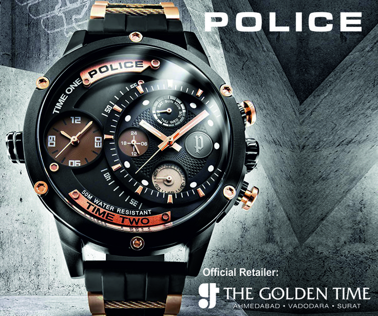 POLICE WATCH ADDER The Mens Police Watch Adder. It features a black rubber strap strap, a black coated stainless steel case and has a black dial with three hand movement and multi-functional display dial. #thegoldentime #Police #watches #ahmedabad #vadodara #surat For more visit: www.thegoldentime.com Helpline number: +91 9687366522