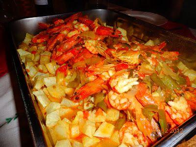 Portuguese recipe -  BACALHAU FRITO COM CAMARÃO