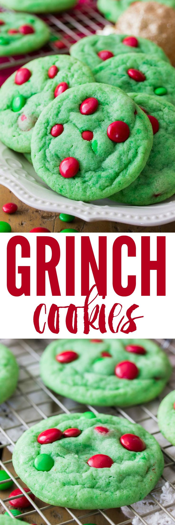 Despite their name, these Grinch Cookies are just about as festive and holiday-friendly as can be! These soft and chewy cookies are colored Grinch-green and decorated with milk chocolate candy pieces.