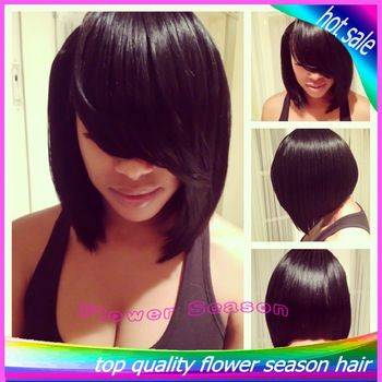Silky Straight Glueless Short Bob Full Lace Wig With Bangs 100% Brazilian Human Hair Wigs