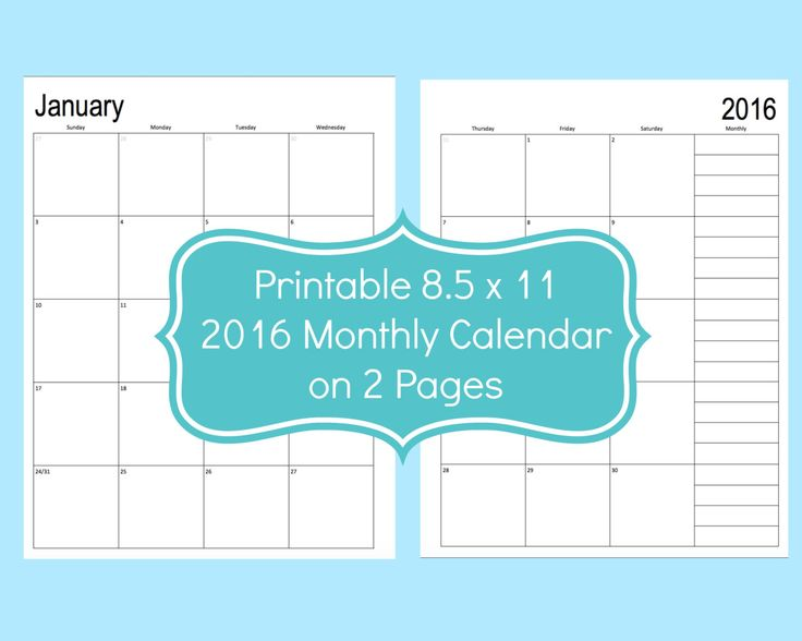 New to CommandCenter on Etsy: Month on Two Pages Monthly Calendar Printable Monthly Calendar 2016 Printable Monthly Planner Printable 2016 Calendars Planner Calendar (1.99 USD)