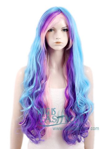 Long Curly Blue Mixed Purple Fashion Wig CM086
