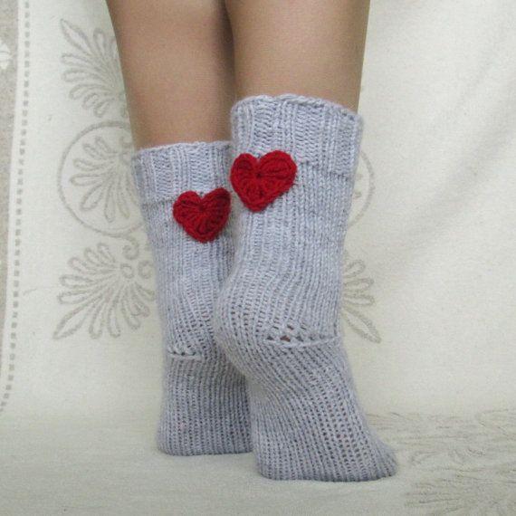 Valentine's day! Woman wool socks   wool rustic socks  hand knit grey socks  socks with cool plait