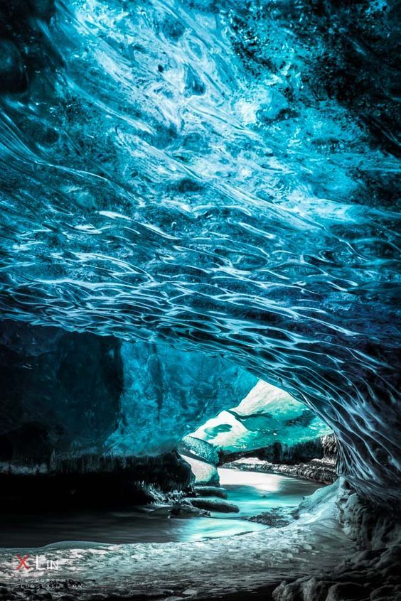 Crystal Cave river exit :: Vatnajokull National Park on the East coast of…
