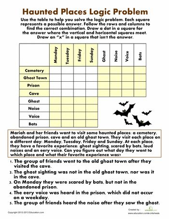 Worksheets: Haunted Places Logic Problem