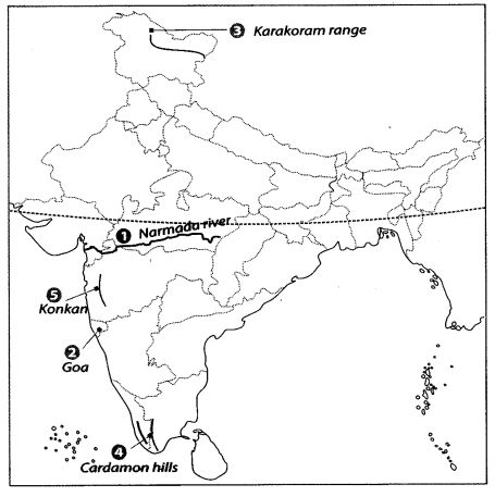 Class 9 Geography Map Work Chapter 2 Physical Features of