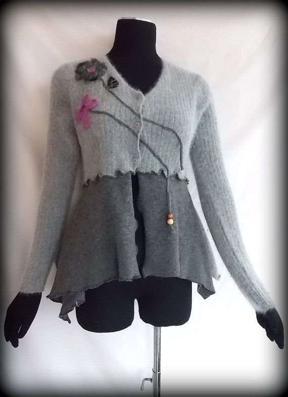 Asymmetric Needle Felted Floral Cardigan M by RebeccasArtCloset, $ 78.00..i have a jacket i need to do this to