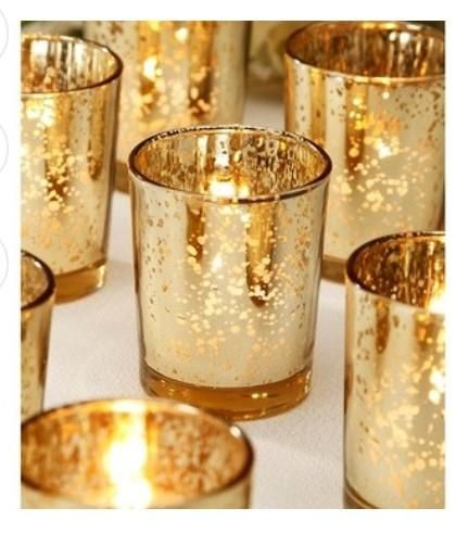 This is the best site for wedding décor and mercury items. Gold mercury votives.