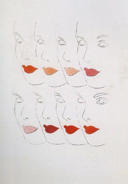 """Vrouwelijke gezichten Vrouwelijke gezichten  inkt en gouache op papier, 1960, 23 1/8 x 13 1/2 """"  The Andy Warhol Foundation voor de Beeldende Kunsten"""