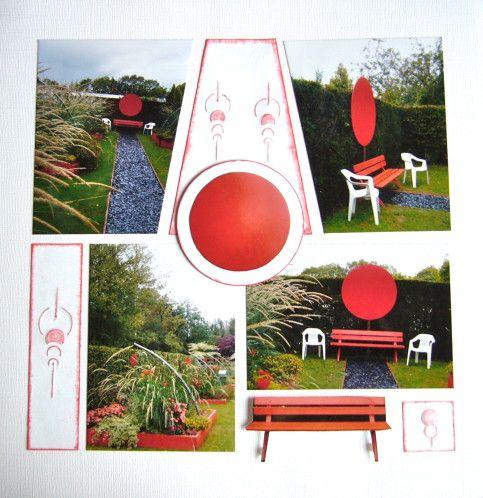 Continuons notre ballade dans les allées, nous voici dans le jardin rouge, j'ai aimé ce banc et ces chaises au bout de l'allée. Et vous, j'espère qu'il vous plaira. Gabarit vitrail, gaufrage et encre. Banc et cercle en 3D La semaine prochaine je vais...