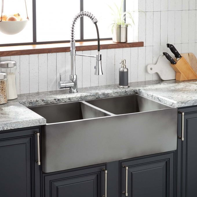 33 Atlas Double Bowl Stainless Steel Farmhouse Sink Curved Apron Gunmetal Black Ki Fireclay Farmhouse Sink Stainless Steel Farmhouse Sink Kitchen Design