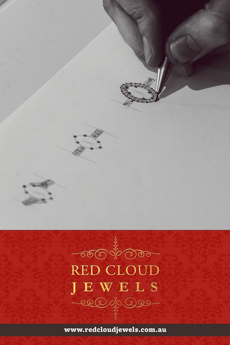 Concept sketching at first consultation. Red Cloud Jewels - Outstanding Jewellery for Outstanding Individuals | www.redcloudjewels.com.au