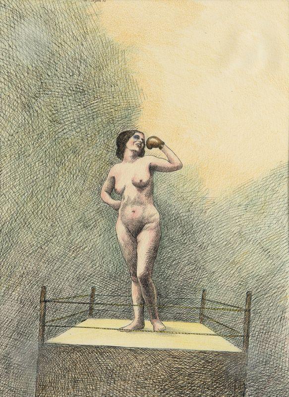 Roland Topor - Surrealistic Composition (Woman with Golden Box Glove), 1973